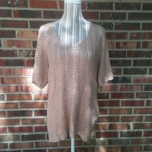 Chico's | open weave shimmer tunic gold size 3. XL